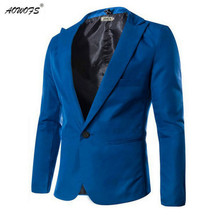 2017 New Arrival Spring Fashion Candy Color Stylish Slim Fit Men's Suit Jacket Casual Business Dress Blazers