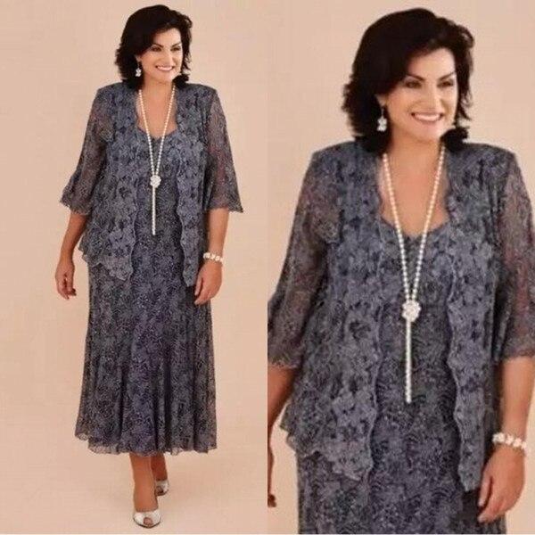 2019 Mother Of The Bride Dresses Lace Chiffon Tea Length Plus Size Evening Gowns