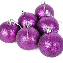 New christmas decoration natal navidad craft supplies package decorations 6cm stick pink and purple Christmas balls(China)