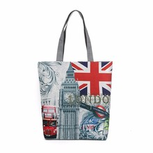 Women Handbag London Big Ben Printing Canvas Zipper Shoulder Bag Casual Tote Small Fresh Beach Bags Bolsas De Ombro #7122