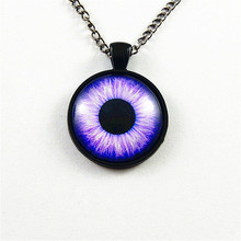 Julie Wang Fashion Private Design Elegant Purple Dragon Eye Pendant Long Chain Necklace Women Lady Jewelry Personality Necklace