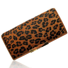 brand leather women wallets horse hair designer women long leopard pattern carteras female clutch purse