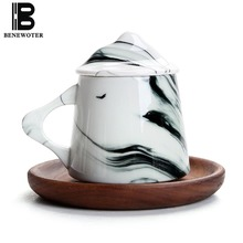 290ml Creative Ceramics Bone China Mugs Manual Tea Set Office Cup with Lid Coffee Milk Ink Painting Kiln Change Gifts Home Decor
