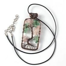 Trendy-beads Unique Copper Natural Rose Pink Quartz Pendant Green Aventurine Necklace Rope Chain Tree of Life Jewelry