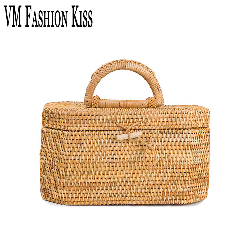 VM FASHION KISS European And American Leisure Straw Bags Vintage Beach Bag For Women Rattan Handbags Travel Tote Lunch Hand Bag<br>