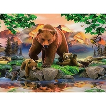 Full,Diamond Painting,5D,DIY,Brown Bear,Diamond Embroidery,Animal,Mosaic,Round Rhinestones,Cross Stitch,Decoration,Crafts,Art