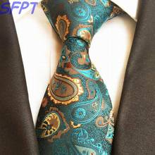 New Classic 100% Silk Mens Ties Neck Ties Paisley Green Gold Striped Ties for Men Business Wedding Party Gravatas Corbatas(China)