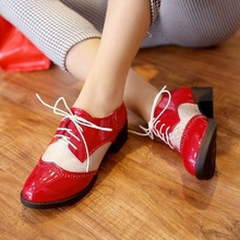 Big Size(33~42) New 2016 PU Leather Oxford Shoes For Women Flats Lace Up Spring Autumn Casual Shoes Woman Fashion Oxfords