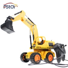 Wired Excavator 5CH 4 Wheel Digger Cable Control Construction Truck Heavy Engineer Truck Electric Toys(China)