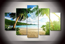 Wall Art Beach Palm Tree Group Painting children's room decor print poster picture canvas Painting Unframed 5 Pieces/Set