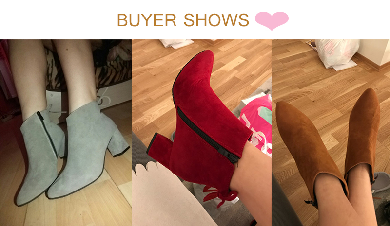 MCCKLE Women Boots Thick High Heels Autumn Ankle Boots For Woman 2017 Ladies Black Flock Suede Leather Fashion Zip Female Shoes