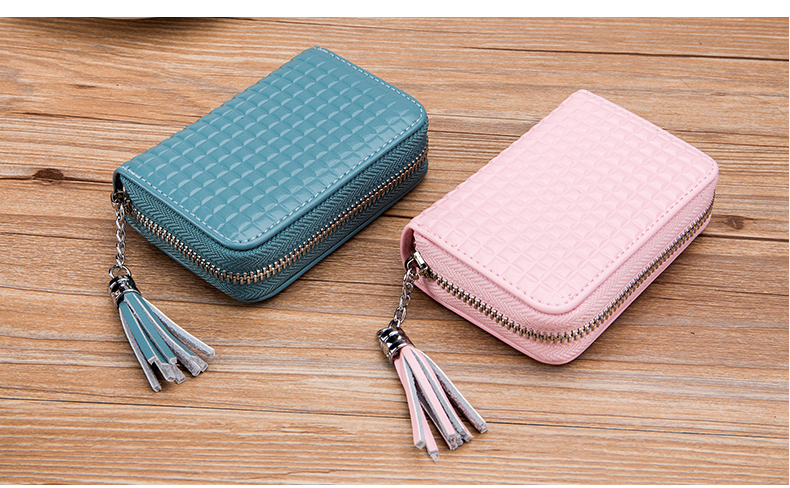 Lomelobo Lady Split Leather Card Wallet Holder Girl Zipper Coin Purse Women Cowhide Large capacity Card Case Housekeeper HCL7126 Details (11)