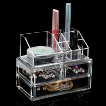 2 Piece Set Makeup Organizer Transparent Clear Chest of Drawers for Cosmetics & Jewelry + Top Storage of Cosmetics