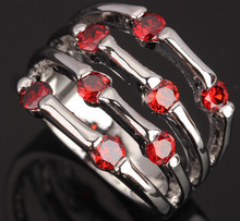 Unusual Sporty Attended by crowd Red Garnet 925 Sterling Silver Fashion Party Jewelrys Women's Rings Size 6 7 8 9 S0588