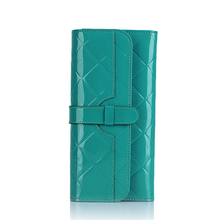 Brand Fashion Solid Color 100% Genuine Leather Long Women Wallet Hasp Female Clutch Purse Zipper Bag For Coin Cellphone Wallet