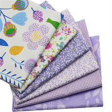 6pcs 40x50cm Flower Lattice Purple Cartoon Series Cotton Fabric Sewing Patterns Patchwork Quilting Clothing Child Quilt Curtain(China)