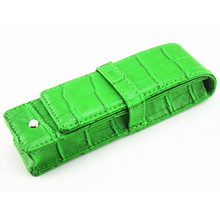 Special Style Pen Or Roll Ball Crocodile pattern Green Leather Case Pen Only For  TWO PENS  Gift Bag Business Office Storage Bag