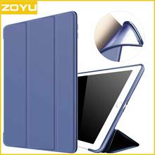 ZOYU New Case for iPad, for iPad 2017 case PU Transparent Back Ultra Slim Light Weight Trifold Smart Cover for new ipad case(China)