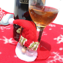 10PCS/LOT Christmas Santa Claus Wine Cup Glass Mat Pad Covers Party Household Supplies Xmas Table Decor Christmas MR0042(China)