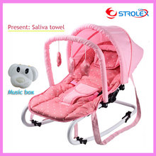 Portable Folding Newborn Baby Swing Chair Lounge Rocking Chair Bouncer Recliner with Toys and Music Box 0~15 Months
