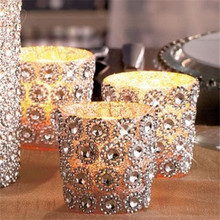 "Gold/Silver 3.75""*30FT(10Yards) 6Rows Daisy Flower Diamond Mesh Bling Crystal Ribbon Trim Wedding Cake Candle Decor(China)"