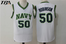 Robinson White Jerseys #50 Naval Academy USNA College Basketball Jersey Stitched Throwback NAVY Basketball Jerseys Free Shipping(China)