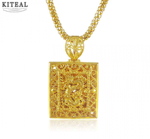 Men jewelry Pure gold color dragon square pendants 46cm long necklace colar feminino accessories YHDN042