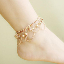 1Pc Women Sexy Ankle Bracelet Chain Foot Beach Sandal Barefoot Gold Color Charm Bell Anklets Elegan  Jewelry Gifts
