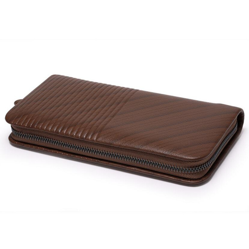 Hot Sale Men Wallets Cow Split Leather Coin Zipper Pocket Mens Long Wallet Male Clutch Bags Man Purse Business Small Hand Bag<br>