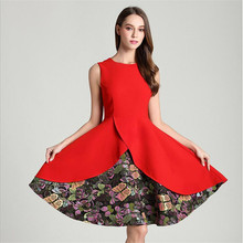 Hurry buy it!!!Hot 2017 Summer Women Dress Fashion Patchwork Red&Black Women Elegant A-Line Dress Slim Fit Party Dresses
