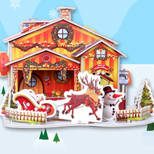 Christmas Crafts House DIY Doll House Toy 3D Paper Craft Models Puzzle Toys Xmas Children Favor Gifts DIY Manual Three-Dimension