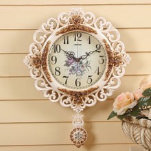 LISHENG Round Pendulum Wall Clock Modern Mute Watch Large Wall Clocks Delicate Carved Patterns