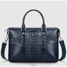 Tailand Import 100% Genuine/Real Crocodile Skin Men Briefcase Laptop Bag, Top Luxury Men Business bag Black, Free Shipping(China)