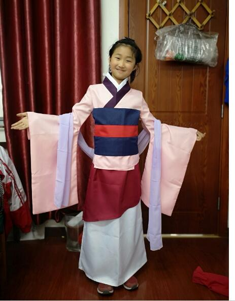 Children Girls Princess Mulan Dress Cosplay Costum Outfit Halloween / Stage / Party Costume Gift Clothing