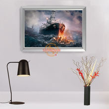 Custom New Classic fantasy sailboat Canvas Fabric Print Poster Frame Aluminum Alloy Painting Frame Home DecorH00217-96(China)