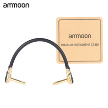 ammoon AC-20 15cm / 0.5 Feet Hight-quality Guitar Patch Cable Cord with 1/4 Inch 6.35mm Golden Right Angle Plug PVC