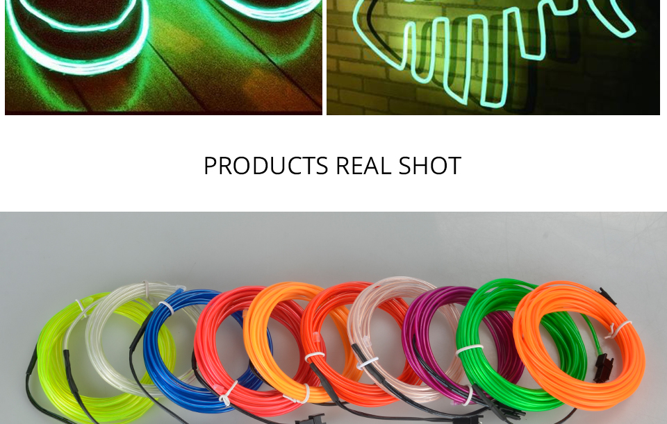 1M2M3M5M Waterproof LED Strip Light Neon Light Glow EL Wire Rope Tube Cable+Battery Controller For Car Decoration Party (13)