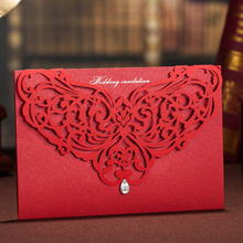 Red Laser Cutting Pattern Bling Crystal Wedding Invitations Cards, By Wishmade, CW3108