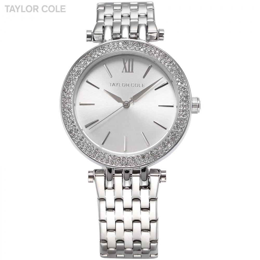 TAYLOR COLE Women Dress Watches Relogio Feminino Silver Rhinestone Stainless Steel Strap Horloges Vrouwen Quartz Watch /TC003<br>