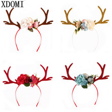 2017 New DIY Christmas Headband Antlers Ear Hair Hoop with Flowers Christmas Party Hair Accessories Deer Hair Buckle Decoration(China)