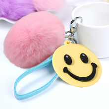 100% Rabbit Fur Keychain Bag Bugs Fluffy Bunny Rabbit Fur Ball Car Pendants Puff Furry Ball Keychains Smile Face Shape Keyrings(China)