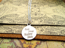 "Fashion stainless steel necklace "" find your happy pace"" Charms Pendant necklace Jewelry Gift more style for choosing"