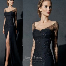 Sexy Side Slit Long Sleeves Lace Evening Dress Black Women Chiffon Formal Lace Evening Gowns robe de soiree