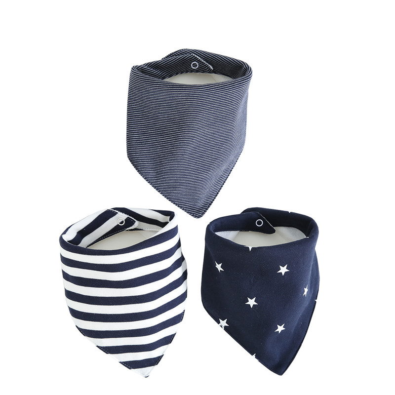 Infant Baby Bibs Cotton Newborns 3 Layers Waterproof 0-24 months 3 pieces/set snaps Bandana for babies Baby Feeding Accessories(China)