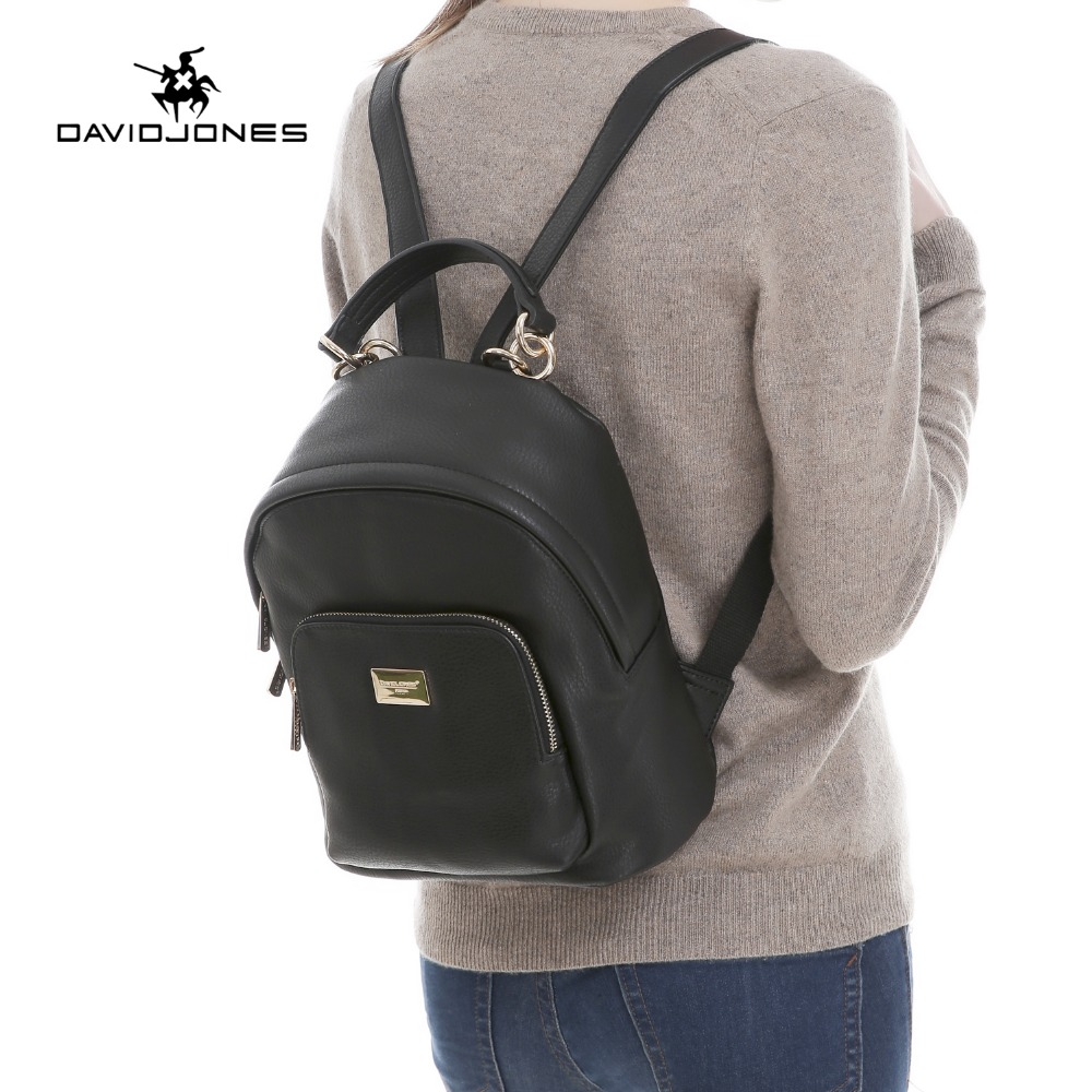 DAVIDJONES Backpack Female softback School bags women PU leather girls shoulder bag bolsa mochila feminina Sac a dos rugzak <br>