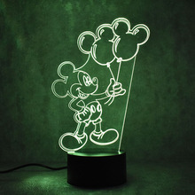 Table Lamp 3D LED Visual Colorful Light Fixture Child Gifts USB Creative Bedside Sleeping Night Light Lampara Mouse Balloon Lamp