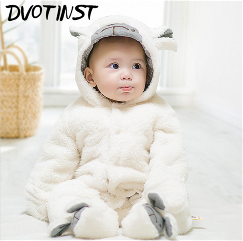 Dvotinst Baby Girls Boys Winter Clothes Full Sleeves Animals Plush Rompers Set Jumpsuit Outfit Infant Halloween Toddler Costume<br>