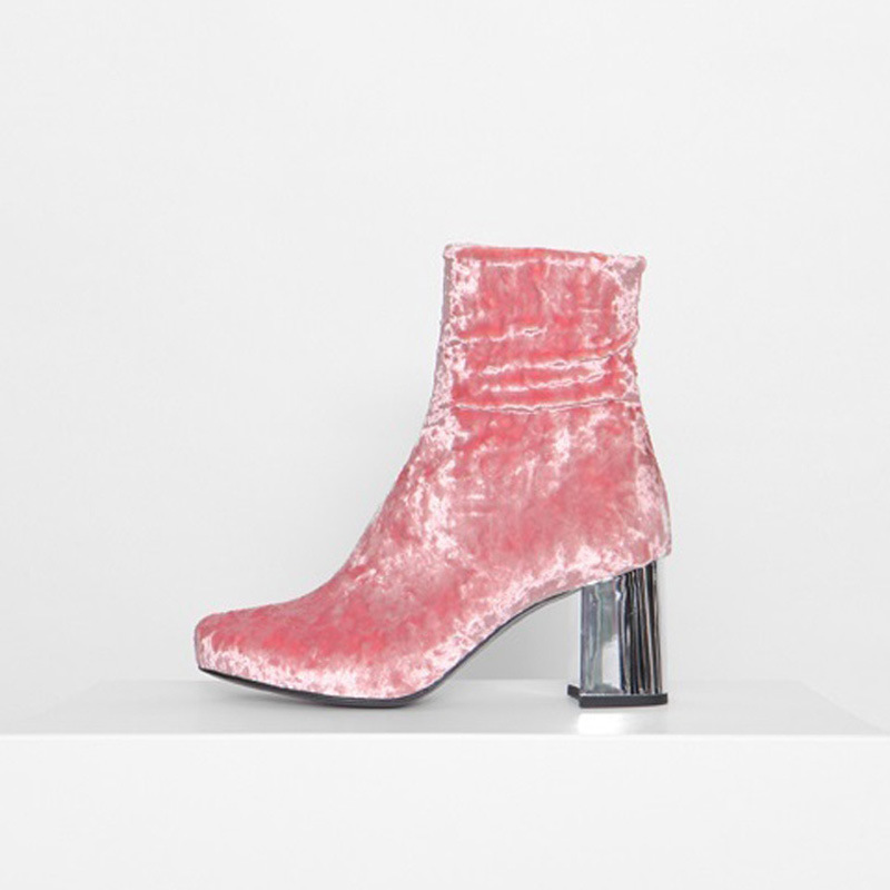 2017 New Fashion Women Velvet ankle boots pink Chunky dress boot thick High Heels shoes for ladies luxury brand design Pump <br><br>Aliexpress