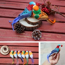 12PCS,15*4.8CM decorative Small parrot Artificial Foam,Feather Colorful Birds With Claws Or Magnet,DIY Christmas Ornaments Bird(China)