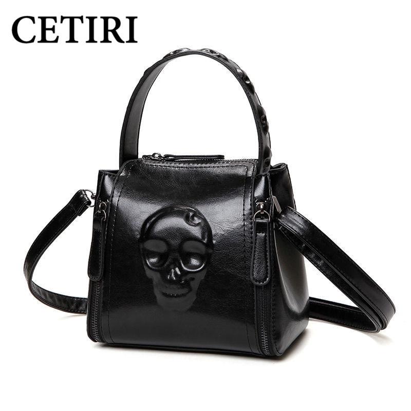 Skull Bag for Women Handbag Fashion Ladies Shoulder pu Leather Handbags Small Tote Vintage Women Black Famous Brand Women Bags<br>